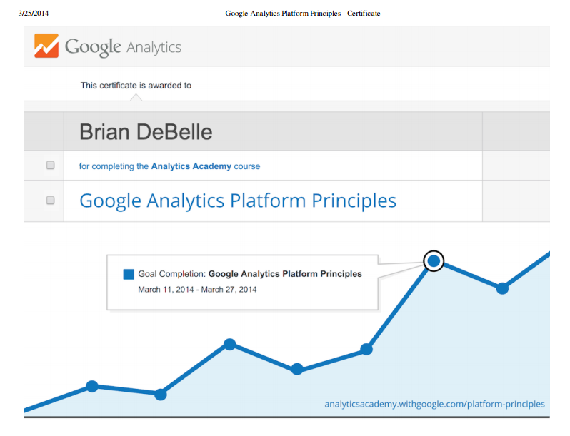 Google Analytics Platform Certification Brian DeBelle